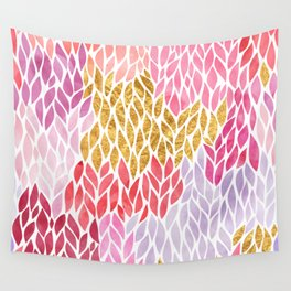 Rose Gold Pink Leaf Pattern Geometric Wall Tapestry