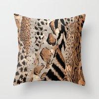 safari Throw Pillows featuring Safari by Colorful Art