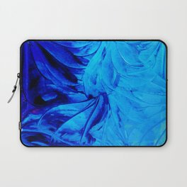 PETAL PINWHEELS - Deep Indigo Blue Royal Blue Turquoise Floral Pattern Swirls Ocean Water Flowers Laptop Sleeve