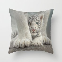 White Tiger Cub - Sheltered Throw Pillow