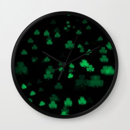 Green Bokeh Shamrocks Wall Clock