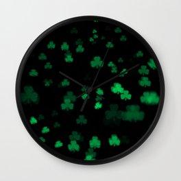 Green Bokeh Shamrocks Wall Clock