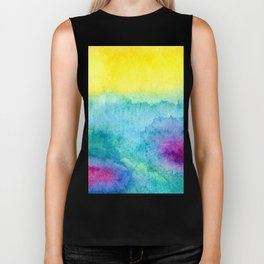 Modern neon yellow blue hand painted watercolor Biker Tank