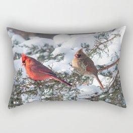 Sunny Winter Cardinals in the Adirondacks Rectangular Pillow