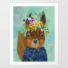 Squirrel with floral crown Art Print
