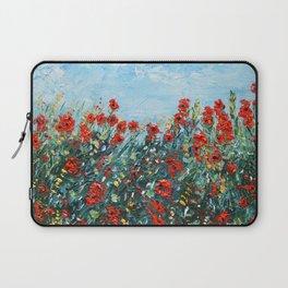 Poppy Flowers Landscape Painting, Palette Knife Artwork Laptop Sleeve