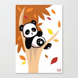 Sleepy Panda in a Tree Canvas Print