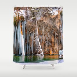 A spring that knows no summer  - Hanging Lake print  by Lena Owens Shower Curtain