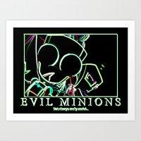 invader zim Art Prints featuring invader zim gir by jjb505