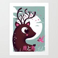 la biche et l'oiseau Art Print