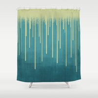 pool Shower Curtains featuring DROPS / pool by DANIEL COULMANN