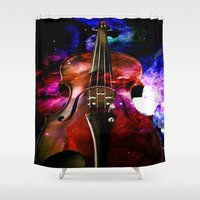 violin Shower Curtains featuring violin nebula by seb mcnulty