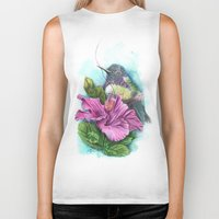 hibiscus Biker Tanks featuring Hibiscus by Maria Trillidou