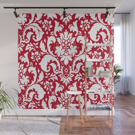 Paisley Damask Red and White Pattern Wall Mural