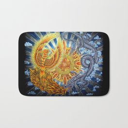 Chinese Phoenix and Dragon Mandala Bath Mat
