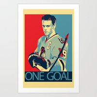 blackhawks Art Prints featuring Towes One Goal by Thousand Lines Ink