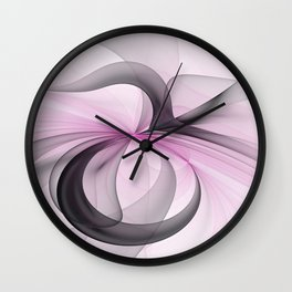 Abstract Art Fractal With Pink Wall Clock