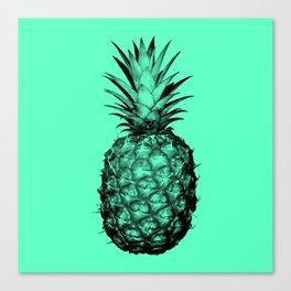 Pineapple! Black on mint green Canvas Print