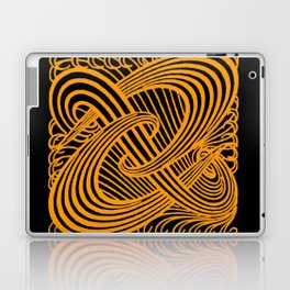 Art Nouveau Swirls in Orange and Black Laptop & iPad Skin