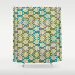 Hexagonal Dreams - Green, Grey, Turquoise Shower Curtain