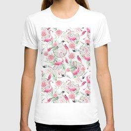 Flowered boho with flamingos T-shirt
