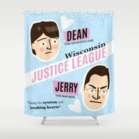 justice league Shower Curtains featuring Dean Strang & Jerry Butin - Wisconsin Justice League by Kodiak Milly