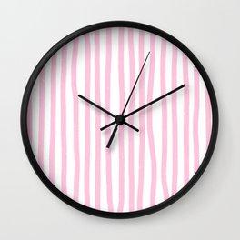 Pink Stripes Wall Clock