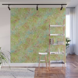 Rusty orange yellow green and aqua blue leaves and foliage watercolor pattern Wall Mural