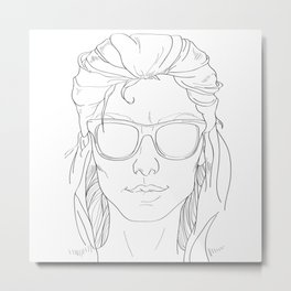 cool summer girl black and white Metal Print