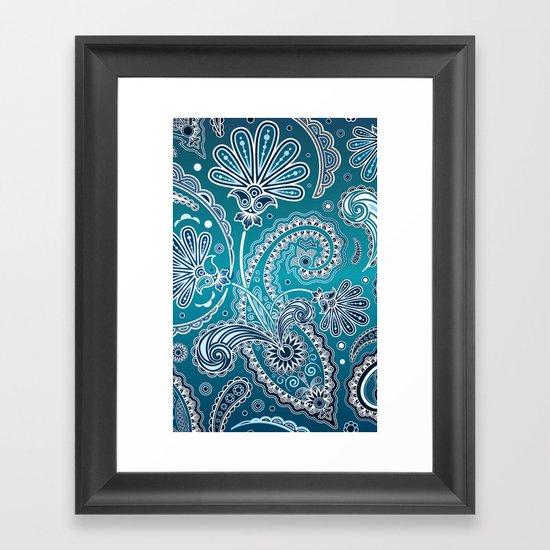 Blue Paisley Framed Art Print