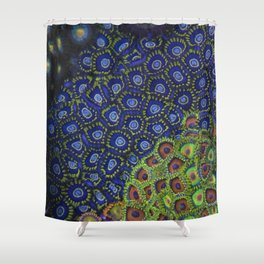 "Macro of Coral Zoanthus ""Blue Hornet"" Shower Curtain"