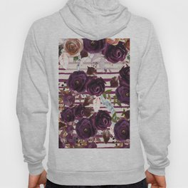 Watercolor ivory purple burgundy brown floral stripes Hoody