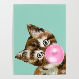 Bubble Gum Baby Cat in Green Poster