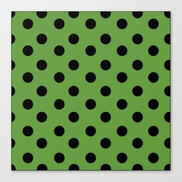 Black & Green Polka Dots Canvas Print
