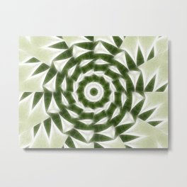 Green White Kaleidoscope Art 4 Metal Print