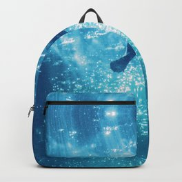 blue water and sea turtle abstract wildlife photography Backpack