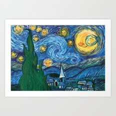 Star Sky - Reinterpretation of The Starry Night by Vincent Van Gogh - Kids art, Prints, painting Art Print