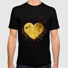 Golden Heart Black Mens Fitted Tee LARGE