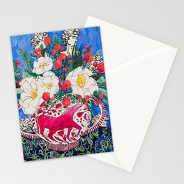 Horse Urn with Tiny Apples and Matilija Queen of California Poppies Floral Still Life Stationery Cards