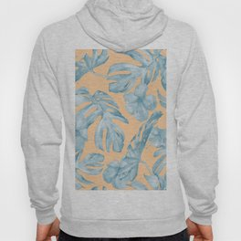 Island Sunrise Hibiscus Palm Orange Ocean Blue Hoody