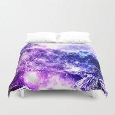 galaxy mountains Duvet Cover