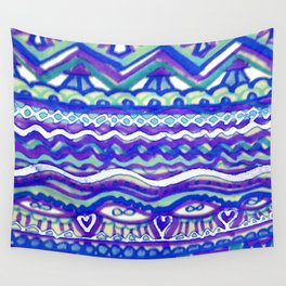 Aztec Blue Mountains and Fields of Streams Wall Tapestry