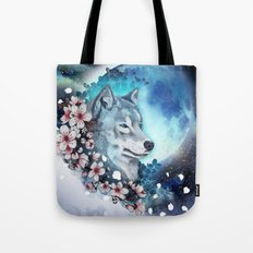 wolf and sakura in the moolight Tote Bag