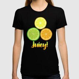 Citrus Slices on Black T-shirt
