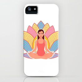 cute girl in meditation pose iPhone Case
