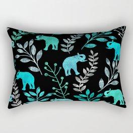 Watercolor Flowers & Elephants IV Rectangular Pillow