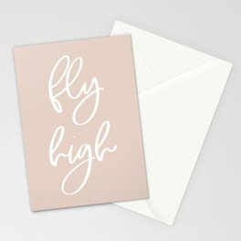 Fly High | White on Blush | Motivational Inspirational Typography Stationery Cards