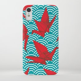Origami red paper cranes sketch. burgundy maroon line Nature oriental iPhone Case