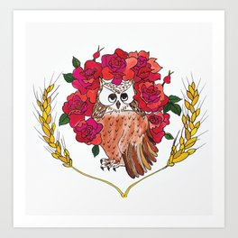 Owl with Rose Halo Art Print