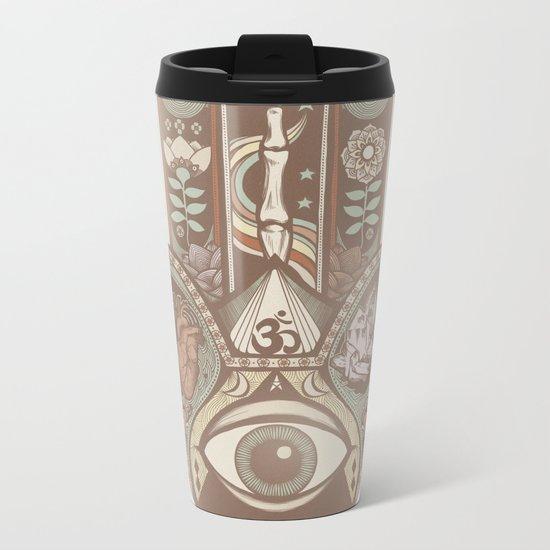 Hamsa Hand Faded Colour Metal Travel Mug